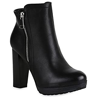 Gefütterte Damen Schuhe Plateau Boots Leder-Optik High Heels Stiefeletten 152121 Schwarz Zipper Brito 41 Flandell