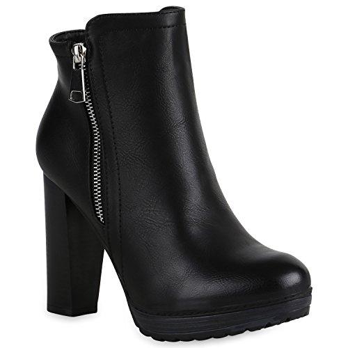 Gefütterte Damen Schuhe Plateau Boots Leder-Optik High Heels Stiefeletten 152121 Schwarz Zipper Brito 37 | Flandell® (High Heel Stiefeletten Leder)