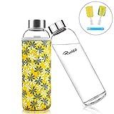 Ryaco Botella de Agua Cristal 550ml, Botella de Agua Reutilizable 18 oz, Sin BPA Antideslizante Protección Neopreno Llevar Manga y Cepillo de Esponja (550ml, Flores Amarillas)
