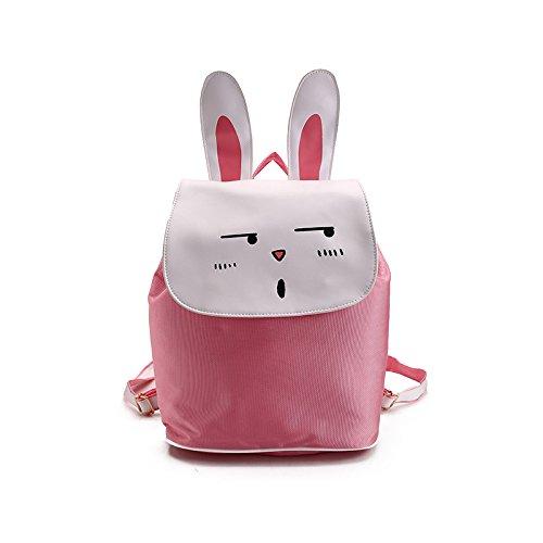 Nikgic Cartoon Schultasche Kinderschultaschen Schulrucksack Rucksack Schulranzen Kinderrucksack aus Polyester Kaninchen