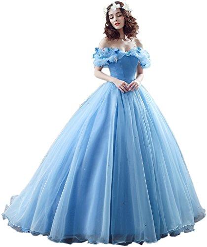 Brautkleider Belle Disney (Victory Bridal Wunderschoen Blaues Kurzarm Abendleider Quincenera Ballkleider Lang Promkleider Cinderella -36)