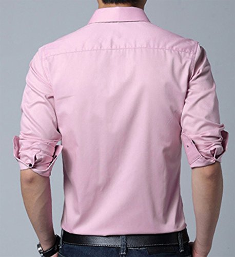 Homme Classique Chemise d'affaire Coton Manches longues Non repassage Couleur unie Rose