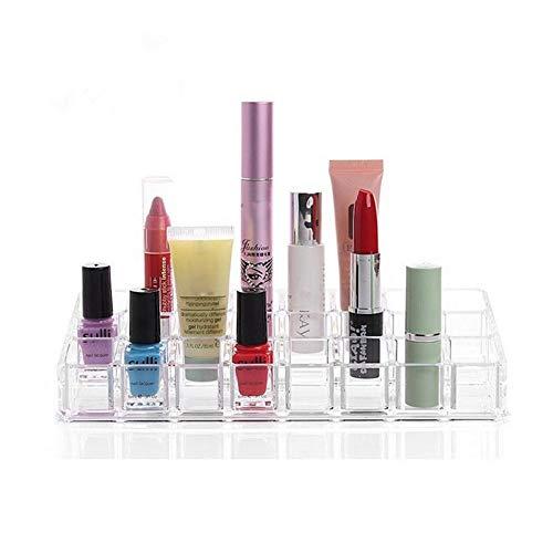 HealthyBear Cosmetic Organizer, 24-Fach Acryl-Lippenstift-Aufbewahrungsbox mit Displayhalterung für Lippenstift, Nagellack, Lippenglasur, Liquid Foundation, Concealer, Mascara, ätherisches Öl
