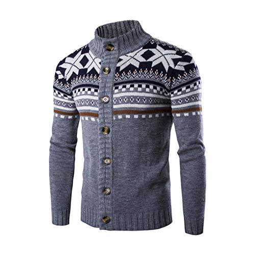 Guyufang Herbst Warme Weihnachten Pullover MäNner Mode Gedruckt Jacke Mantel LäSsig Stehkragen Stricken Herren Strickjacke Pullover Light Gray XL -
