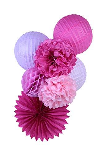 SUNBEAUTY Pacchetto 7 pezzi rosso fiore rosa Viola Rosa Pom pom carta Farol Casa Fiesta decorazione appesa matrimoni feste di compleanno Festival di San Vlentines
