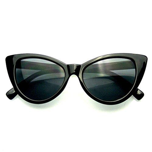 Punta womens moda punta calda vintage occhiali da sole occhi di gatto (nero, 0)