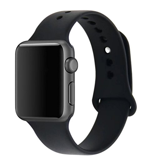 ZRO Smart Watch Correa, Silicona Suave Reemplazo de Banda Sport Band para Apple iWatch Serie 2/ Serie 1 42mm S/M, Negro