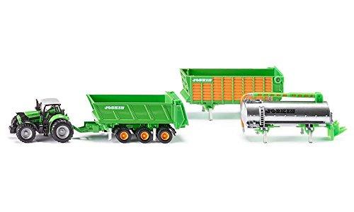 SIKU 1848, DEUTZ-FAHR Traktor mit Joskin Anhängerset, 1:87, Metall/Kunststoff, Grün, 5-tlg, Mit Wechselsystem