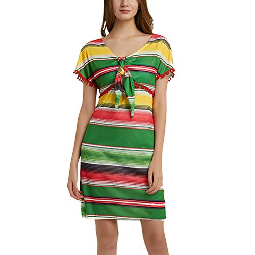 Amosfun Mexikanisches Fiesta-Kleid Mexikanisches Kostüm Fancy Party Dress (Green)