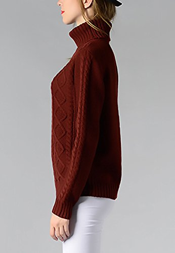 Maglia Donna Inverno Elegante Manica Lunga Dolcevita Calda Collo Alto Pullover Maglieria Top Particolari A Strisce Ragazze Warm Maglione Casual Maglie Maglietta Jumper Moda Partito Vintage Vino rosso