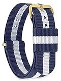 MOMENTO Damen Herren NATO Nylon Uhren-Armband Ersatz-Armband Uhren-Band mit Edelstahl-Schliesse in Gelb-Gold und Blau Weiss Gestreift 20mm
