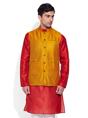 Very Me Men's Designer Yellow Faux Silk Textured Nehru Jacket Size:- 48 / 4Xl  available at amazon for Rs.999