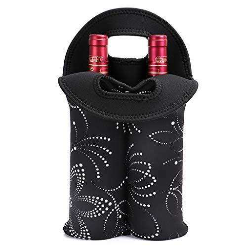 Hipiwe Wein-Reisetasche & Kühltasche für 2 Flaschen Weinflaschen Picknick-Kühler 2 Flaschen Wasser Getränke Bier Isolierte Neopren Handtasche -