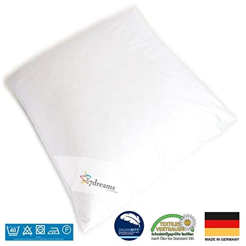 7dreams 3 Kammer Daunen Feder Kopfkissen Gänseflaum - Deutsches Qualitätsprodukt - 80x80cm - 1060g Füllgewicht
