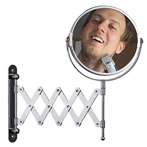 BELLE VOUS Espejo 18cm de Pared Grande Extensible - Aumento de 1x y 3X - Extensión Máxima de 40cm - para Baño y Habitación - Acabado Cromado de Acero Inoxidable - Diseño de Cabeza Giratoria