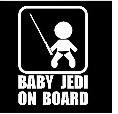 10,7 * 15 CM BABY JEDI AN BORD Auto Styling Aufkleber Cool Baby Nehmen Sie das Schwert Lustige Auto Schwanz Aufkleber Schwarz/Silber/3PCS