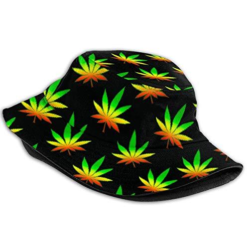 Imagen de sombrero de cubo de marihuana weed sombreros de pescador de patrón animal de moda para mujer  reversible empacable alternativa