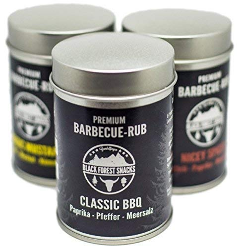 Premium Barbecue Rub Dry 3x75g Trocken-Marinade Gewürz-Set (Classic BBQ, Magic Mustard, Nicey Spicey) -