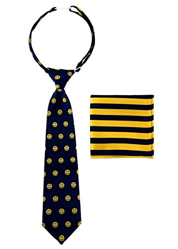 Canacana Jungen Krawatte, gemustert Gr. 100 cm, Blau - Navy Blue and Yellow