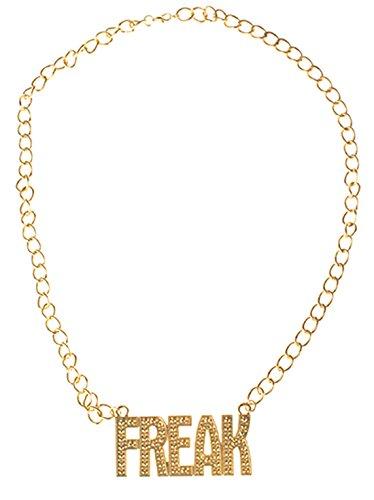 Preisvergleich Produktbild Halloweenia - Kostüm Accessoire- 80er- 90er Jahre- Freak Gold Kette,  Erwachsenen Kostümschmuck,  Gold