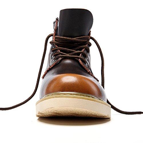 Uomo Moda Antiscivolo Scarpe da lavoro Ballerine Martin stivali impermeabile Spessore inferiore Aumenta le scarpe Scarpe da trekking euro DIMENSIONE 38-44 marrone