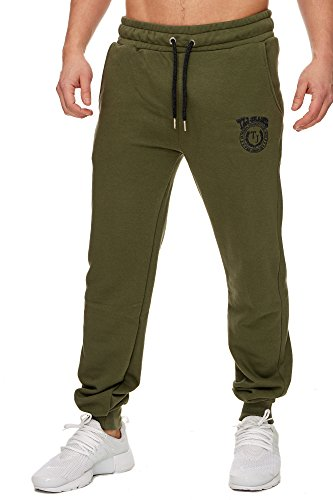 TAZZIO Herren Jogginghose Sweatpants Birds 16601 Khaki