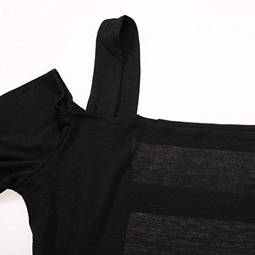 La Cabina Femme Sexy Mini Robe Manche Longue + Bustier Suspendue pour Soirée Cérémonie Mariage et Soirée Cocktail Quotidien Noir