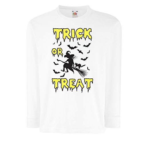 Kinder-T-Shirt mit langen Ärmeln Trick or Treat - Halloween Witch - Party outfites - Scary costume (5-6 years Weiß (Dishonored Party Kostüm)