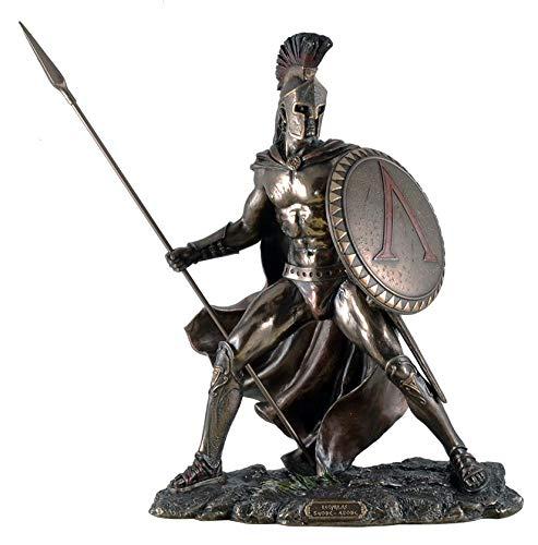 Leonidas mit Schild und Speer Figur Feldherr Spartaner bronziert