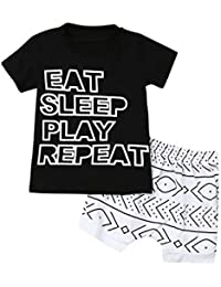 6M-4Y Toddler Kid Baby Boys Letter Tee Shirt Tops + Geometry Print Shorts Summer Outfits Set EAT Sleep Play Repeat
