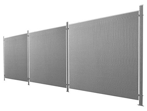 Poly-Rattan Sichtschutz / Zaun-Set 7-teilig anthrazit ca. 571cm Prime Tech