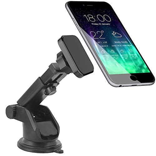 CRage Magnetic Phone Holder, Mobile Phone Holder Stand Mount for Car Windscreen Dashboard, Strong Magnet Extendable Long Arm Sticky Suction Cup for iPhone Samsung Huawei Nokia and Others (Black)