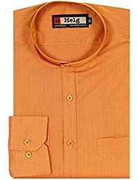 Helg Mens Formal Cotton Plain Mandarin Chinese Collar Full Sleeves Comfort Fit Shirt