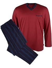 Kapart XXL Pijama larga rojo vino-azul oscuro