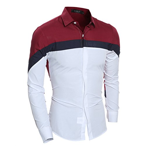 Men's Fashion Long Sleeved Slim Fit Shirts red