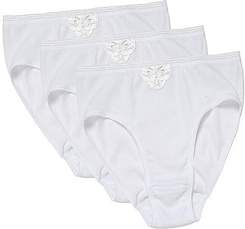 Belmina Hüftslips / 3er Set Slips für Damen, Unterwäsche aus 100% Baumwolle, mit Spitzenapplikationen (Größen: 36/38 - 48/50, Farbe: