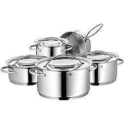 WMF Gala Plus Topfset, 5-teilig, mit Metalldeckel, Kochtopf, Stielkasserolle, Cromargan Edelstahl poliert, induktionsgeeignet, spülmaschinengeeignet