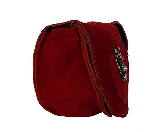 Süsse Umhängetasche- Trachtentasche fürs Dirndl - Echt Leder - Wildleder Tasche (17x13x6 cm) Rot / Hirsch
