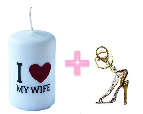 I Love My Wife candela Dimensioni 6cm x 10cm + strass charm shoe Keychain creative (Black Tortoise Charm)