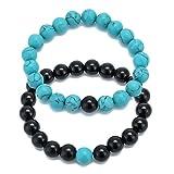 Turquoise et agate noire Perles de 10mm Distance Ensemble de bracelets élastique Couple Bracelets Bijoux