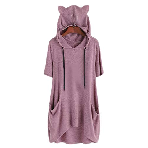 Sith Kostüm Club - TOPKEAL Jacke Mantel Damen Herbst Winter Frauen Casual Solid Cat Ohr Kapuzen Kurzarm Tasche Unregelmäßige Top Bluse Shirt Sweatshirt Kapuzenjacke Hoodie Pullover Coats (Pink D, L)