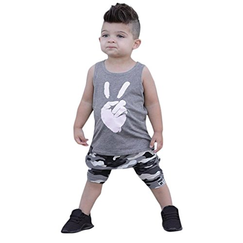 Baby Bekleidung Jungen Mädchen Tops T Shirt Weste Camouflage Shorts Outfits Set (Grau, 24 - Jungen Sweat Anzüge