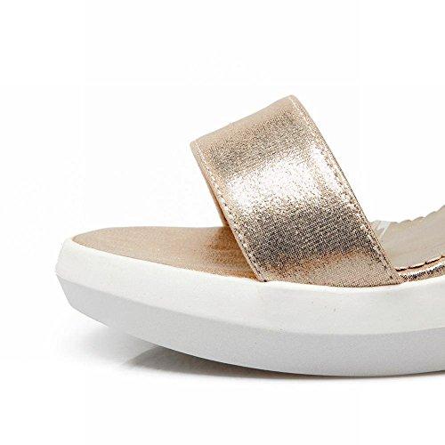Mee Shoes Damen modern reizvoll populär open toe Schnalle Knöchelriemchen mit Metall-Dekoration Keilabsatz ankle strap Plateau Sandalen Gold