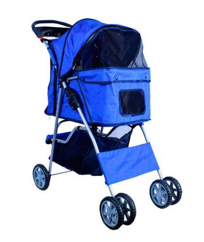 new-deluxe-4roues-pliable-pour-chien-chat-pour-poussette-transporteur-w-tasse-support-plateau-bleu