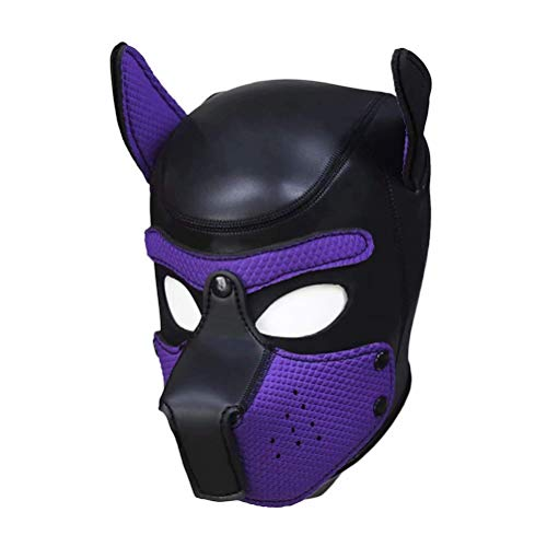 Coogel Sexy Cosplay Puppy Mask,Role Play Dog Full Head Mask Novelty Costume Dog Head Masks (Purple)