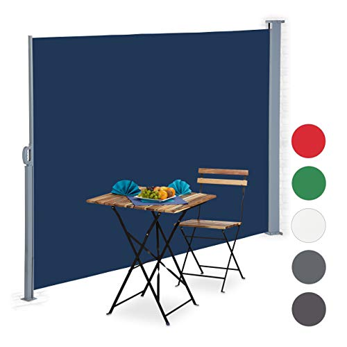 Relaxdays ausziehbare Seitenmarkise, Sichtschutz für Balkon, Terrasse, Wand-, Bodenmontage, Seitenrollo 180x300 cm, blau