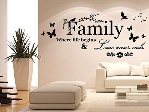 Tiukiu Wandtattoo mit Zitat Family Where Life Begins Love Never Ends (englischsprachig), entfernbar, Vinyl, klein, Vinyl, Multi, 12 Inch In Width