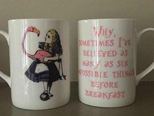 """Libro Alice in Wonderland Quote Tazza in porcellana fine: """"Perché, a volte mi hai creduto molti come sei cose impossibili prima di colazione""""-Nuovo"""