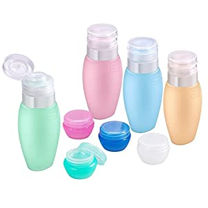 Travel Bottles Silicone Set Portable – Acdyion TSA Air Mini Leakproof Empty Travel Bottles for Shampoo, Shower Gel, Lotion, Including 4 Candy Color Silicone Bottles and 4 Mushroom Boxes (Multicolour)