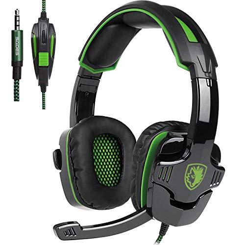 PS4 Gaming Headsets, Sades SA810 Xbox One Gaming Kopfhörer 3,5 mm Schnittstelle mit Mikrofon In-Line Control für Multiplattform-PC/Xbox One / PS4 / Mac/Tablet (erneuert) SA930 Green